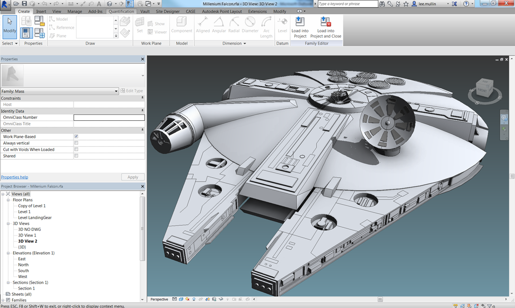 Chair Rail Revit Part - 39: Millennium Falcon Revit David Light