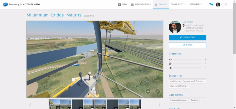 A360 rendering cloud construction crane visibility health safety navisworks infraworks bridge